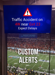 Traffic Alerts on Arena TVs